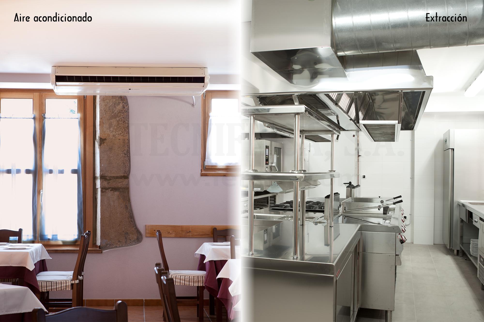 Tecnifrisa climatizacion a a extraccion y salidas de humos for Instalacion cocina industrial